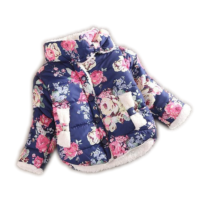 2015 girls warm coat baby winter long sleeve flower jacket children cotton-padded clothes kids christmas outwear a-079(China (Mainland))