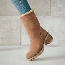 DAOKFPO Yeni Kadın Botları Kış açık Sıcak tutmak Kürk Çizmeler Su Geçirmez Kadın Kar Botları Kalın topuk yuvarlak kafa kısa çizme(China)