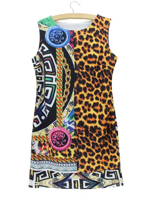 2015 новинка винтажный леопардовый платье женщин Жилетido американские и европейские ...