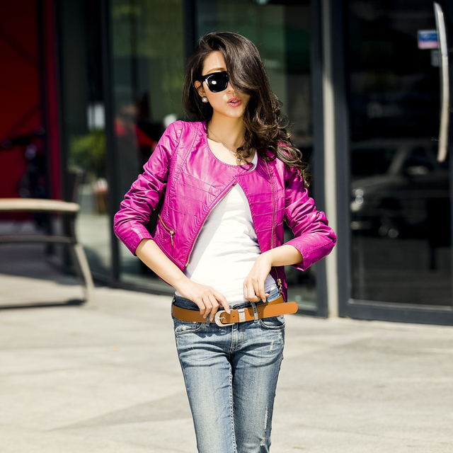 2013 Autumn Fashion Brand Slim Outerwear Clothing  Motorcycle Short Faux PU Leather Jackets Women Zipper Plus Size