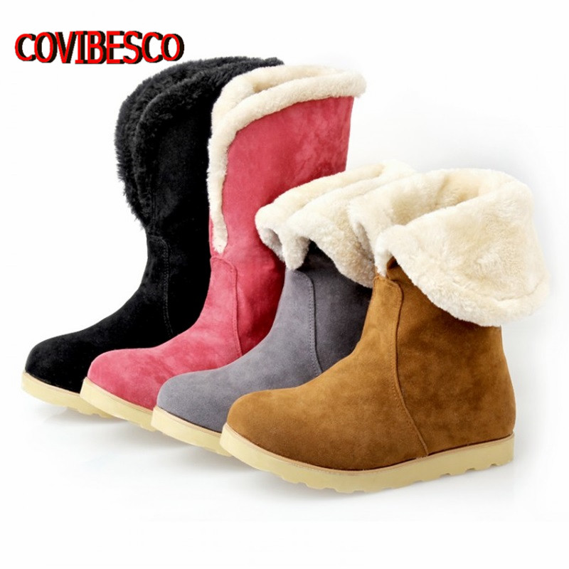Plus size34-43, Thicken Plush Women Winter Snow Boots Fashion Brand shoes Warm female knee high boots - COVIBESCO Ltd's store