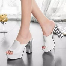 Summer 2015 new leather sandals and slippers women platform sandals shoes wedges platform shoes with comfort in Korea B0990