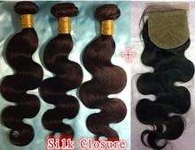 Silk Base Closure With Bundles Unprocessed Brazilian Virgin Hair With Closure Body wave 4Pcs/Lot Human Hair With Silk Closure(China (Mainland))