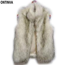 Plus Size Women Faux Fur Vest Casacos Femininos De Pele Winter Autumn Coat Blaser Feminino 2015 Fashion Outwear Freeship(China (Mainland))