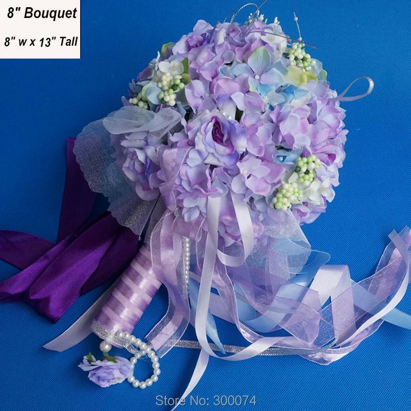 "8"" Artificial Floral Wedding Bouquet Of Bride & Bridesmaid Silk Hydrangea & Rose Flower Party Decoration Supplies ramos de novia(China (Mainland))"