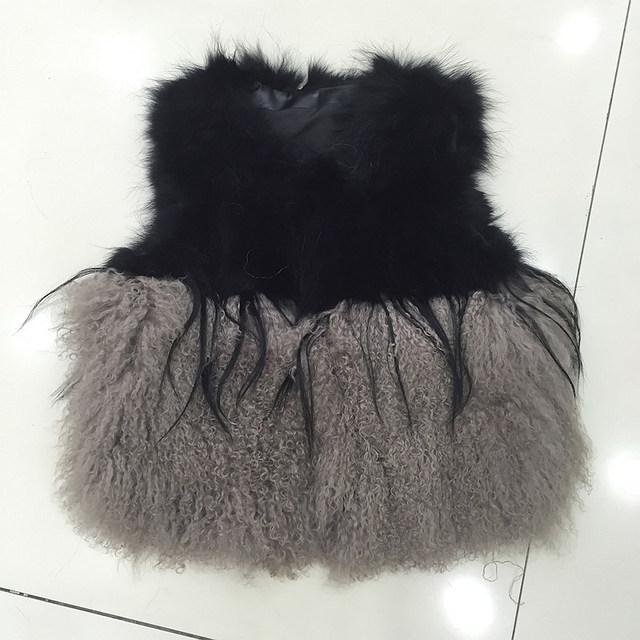 QC9518 зима женщины шуба высокое качество реального монголия овцы меховой жилет настоящее ...