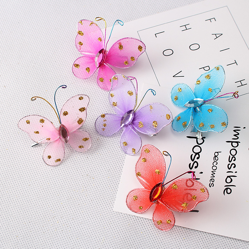 5pcs/lot New Arrival Fashion Style Children Hair Accessories Girls Sweet Glitter Butterfly Hairpins Kids Barrette Baby Hair Clip(China (Mainland))