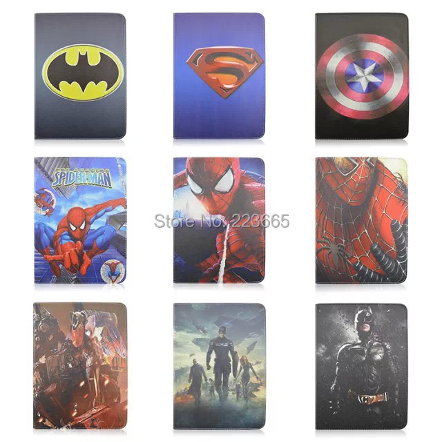 1PCS,2015 New Avengers Batman Spiderman Cartoon Folio Stand Leather Case Samsung Galaxy Tab 4 T530 10.1 inch Tablet PC - China's cool case store
