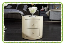 White round bedside table leather Europe style nightstands hot selling(China (Mainland))