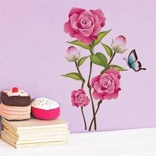 Buy Pattern DIY Beautiful Rose butterfly Flower Wall Decal Vinyl Kitchen Door Sticker Mural Art Living Room Home Decor 50x70cm for $2.22 in AliExpress store