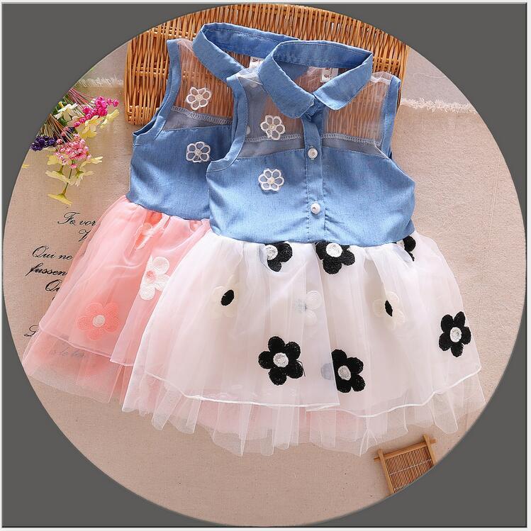 cowboy dresses Girl summer jeans dress 2016 kids sundress children flower denim dress with 100% cotton infant polo girl dress(China (Mainland))