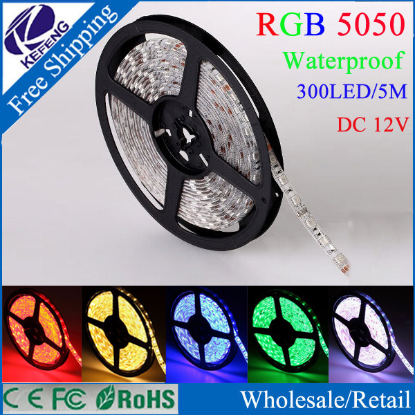5M flexible led strip 5050 60led/M DC12V waterproof IP65 coated with layer of epoxy glue or silicon led rope RGB or Single color(China (Mainland))
