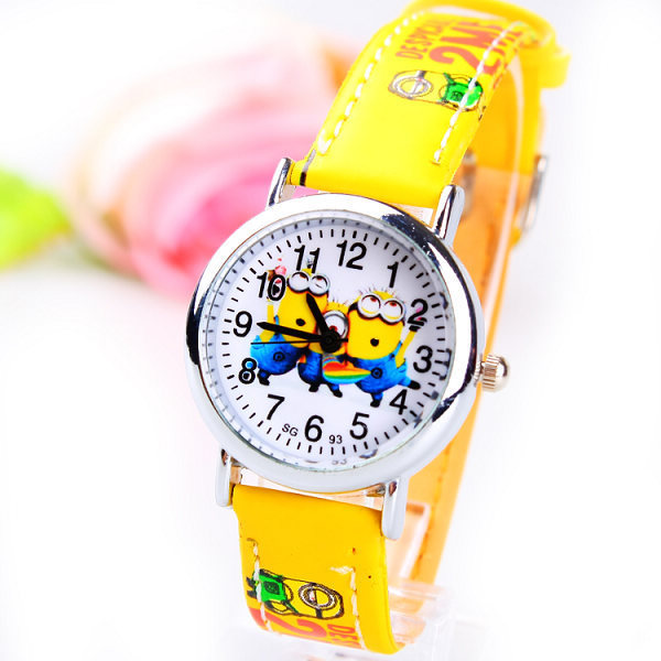 1PC Yellow Cute Cartoon Despicable Watches Fashion Children's Leather Watch Boys Girls Kids Students Casual Wristwatch 165775 - Factory Direct Seller store