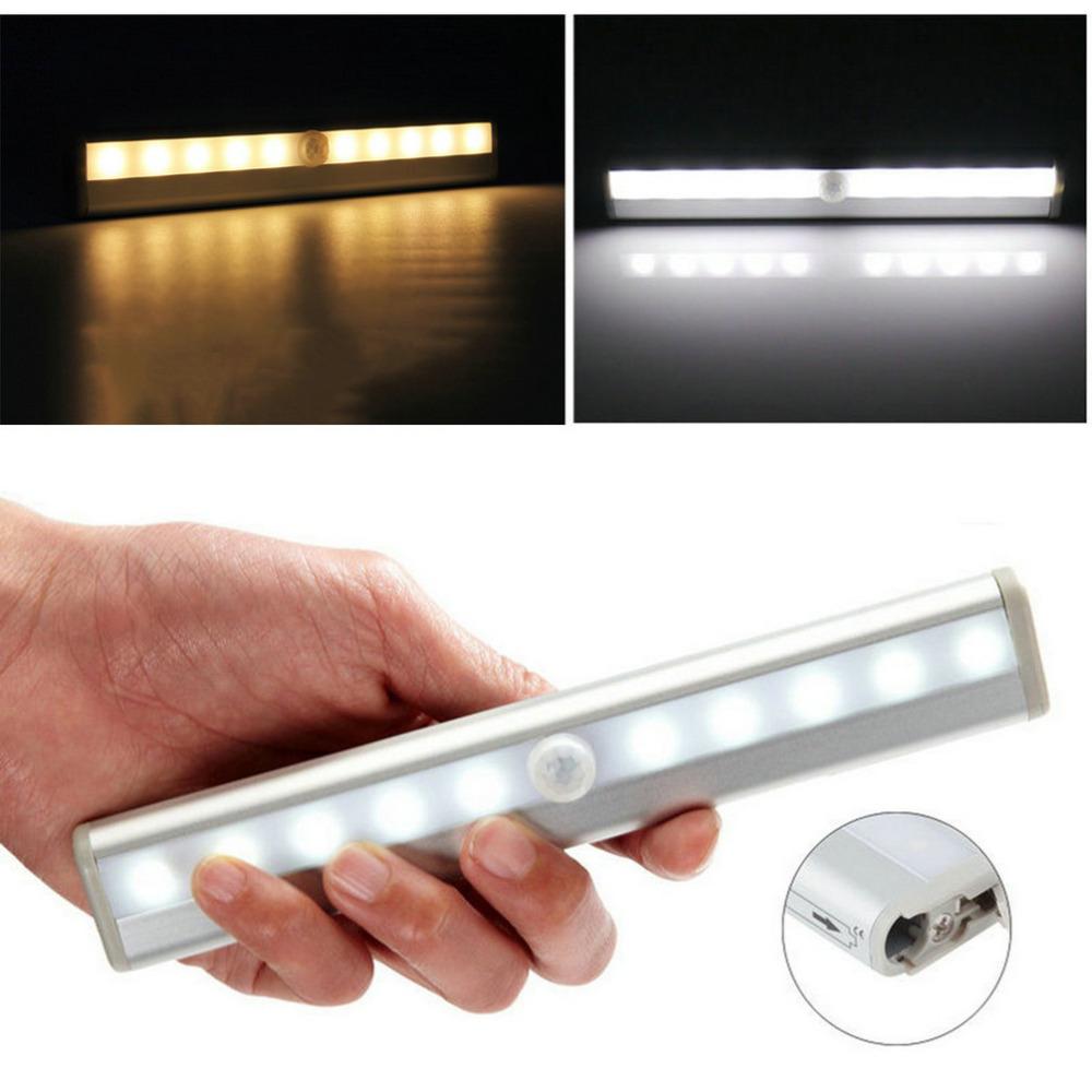 Гаджет  Cool White Wireless PIR Motion Sensor Lamp Super Bright 10 LED Battery Powered Cabinet Drawer Night Light  None Свет и освещение