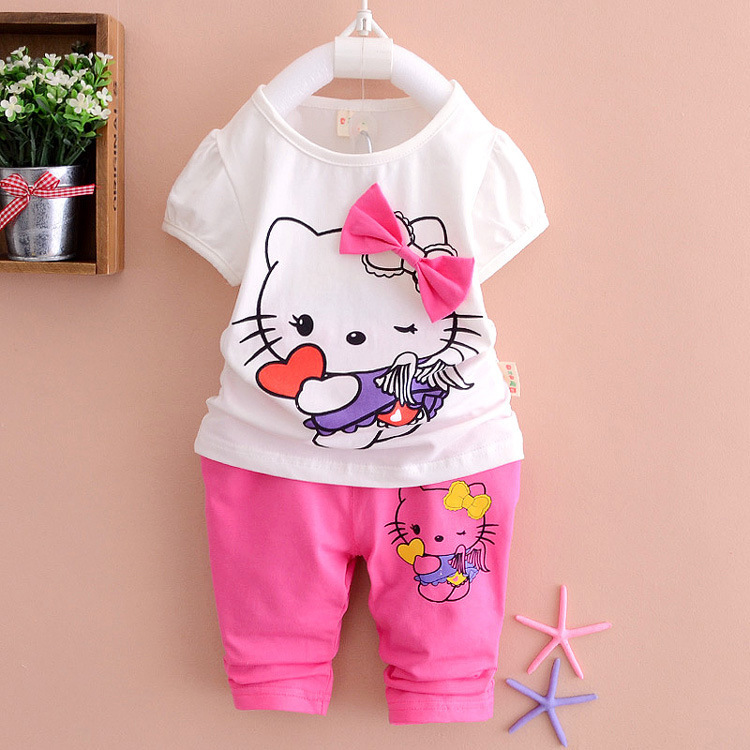 2015 Summer Brand Hello Kitty KT Baby Boys Girls Cotton Suits Children's Sports Suits Kids Leisure T Shirt+Shorts Clothes Sets(China (Mainland))