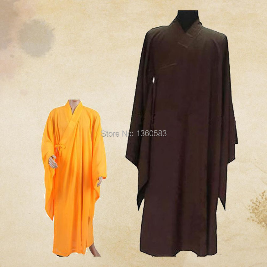 Unisex 3colors Zen Buddhist Robe Lay Monk Meditation Gown Monk Training Uniform Suit ung fu Cassock Clothes Abbot Bonze Costumes(China (Mainland))