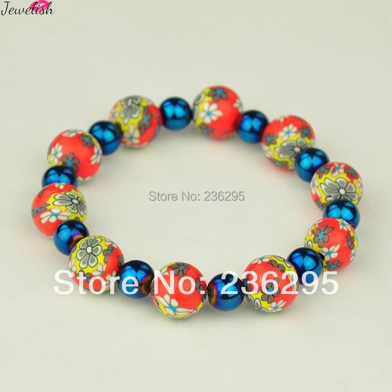 Handmade Polymer Clay Bracelets, Stretch Bracelets, with Electroplate Glass Beads, OrangeRed, Inner Diameter: 52mm(China (Mainland))