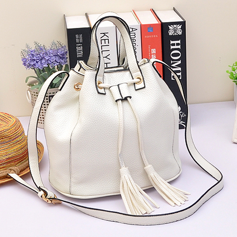 2015 drawstring women crossbody Tassel Bucket Bag Small Tote Bag brand Leather Shoulder Messenger Bags bolsa feminina A434<br><br>Aliexpress