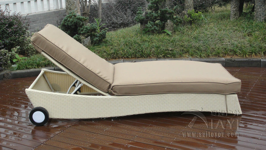Adjustable Swimming Pool Side Rattan Sun Lounger , Hand-Woven transport by sea<br><br>Aliexpress