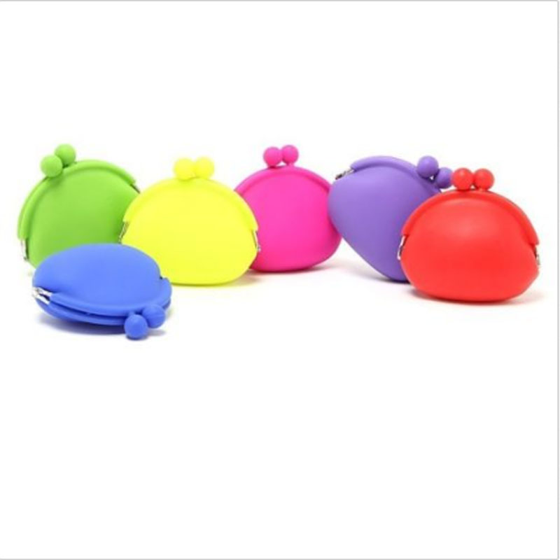 Fashion Women Candy Color Silicone Heart-Shaped Coin Purse Key Simple Wallet Rubber Case Yellow At Random<br><br>Aliexpress