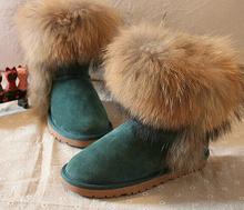ENVÍO LIBRE, Cuero Genuino + Real de piel de Mapache Botas 25-40 tamaño de la nieve botas de piel botas de invierno de las mujeres zapatos, diseñador de Zapatos de Marca(China (Mainland))