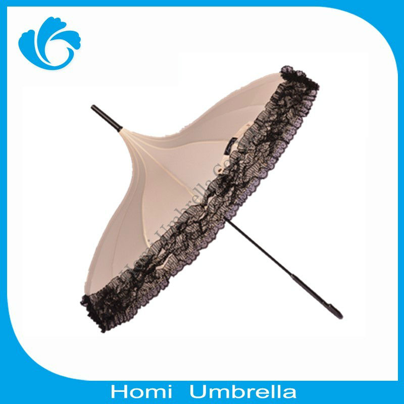 New Design Fancy Pongee And Lace Pagoda Umbrella Wholesale(China (Mainland))