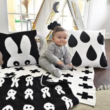 Baby Blanket Black White Cute Rabbit Swan Cross fleece For Bed Sofa Cobertores Mantas BedSpread Bath Towels Play Mat Gift(China (Mainland))