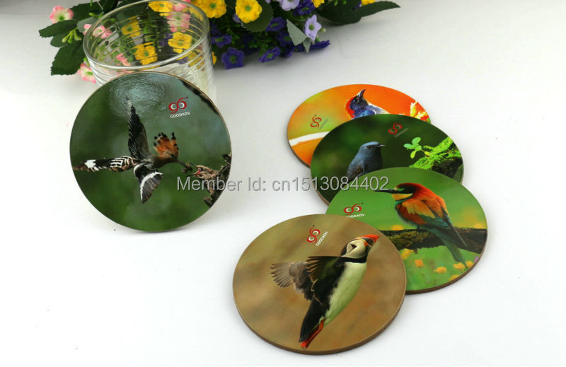 Eco-friendly materials cork based wood center reusable natural bird printed round shape MDF coasters now 15pcs/lot free shipping(China (Mainland))