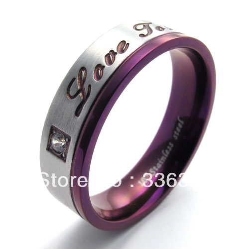 R0008 Mens Womens Purple Stainless Steel Promise Ring Couples Wedding Bands U