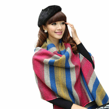 Amazing Fashion Women's Large Tartan Scarf Shawl Stole Plaid Tassels Knitting Scarf