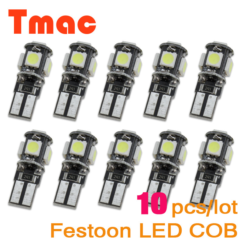 Free Shipping Error Free Bulbs 10pcs/Lot Canbus T10 5smd 5050 LED car Light Canbus W5W 194 5050 5 SMD car styling parking light(China (Mainland))