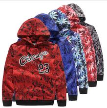 New men sportswear JORDAN 23 sweatshirt red rose weed hemp print hoodies man outdoor jacket coat clothing Free shipping(China (Mainland))