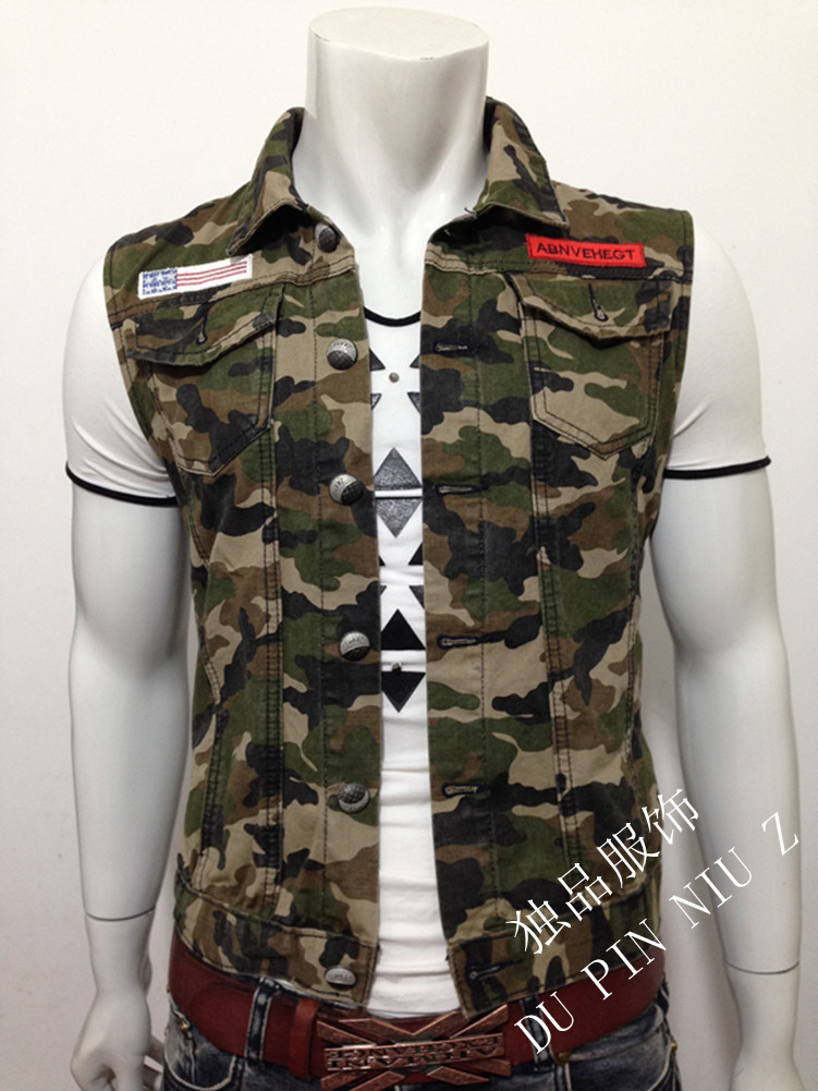 2015 new arrive fashion label gilet mens Camo denim vest waistcoat camouflage design causal sleeveless jacket leisure Cardigan(China (Mainland))