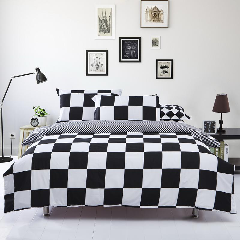 LUCKY TEXTILE black and white duvet cover set grid stripe bedding set bed sheet linen clothes bedspread modern adult bedding(China (Mainland))