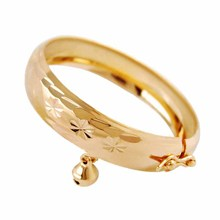 Fashion Gold Plated Bell circle Bracelet Children Boys Girls Baby Kids Bangles handwear Jewelry Anti-Allery(China (Mainland))