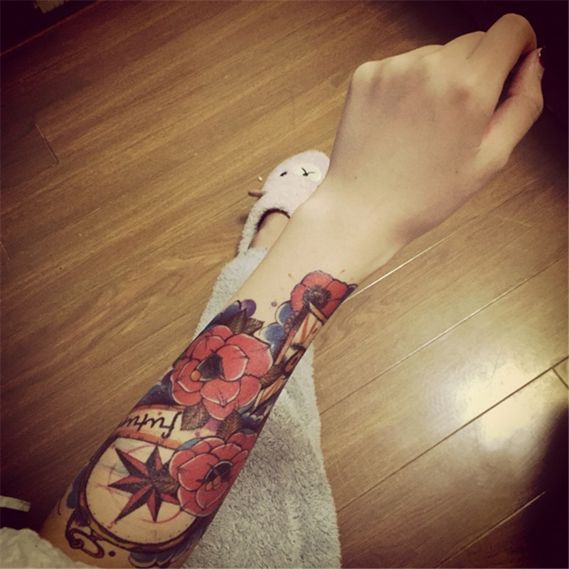 100pcs/lot Henna Flash Big Tattoos for Women Ink Sexy Body Art Tatoo Flower Henna Large Temporary Tattoo Sleeve Stick(China (Mainland))