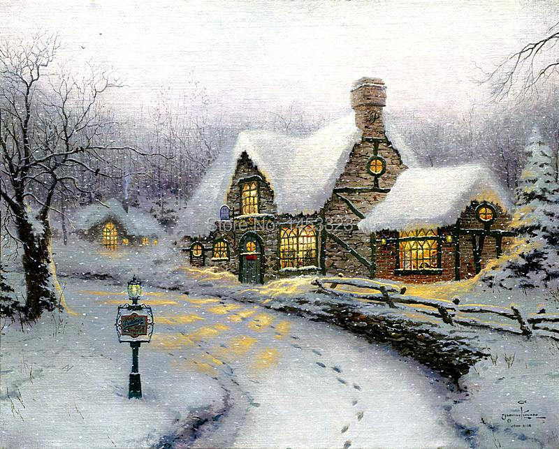 printed Thomas Kinkade Olde Porterfield Gift Shoppe oil painting print on 100% cotton canvas wall art picture for living room(China (Mainland))