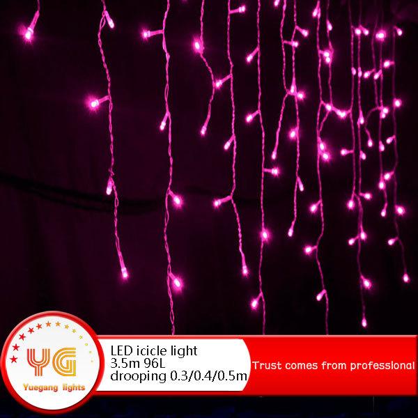 China Supplier 220V 3.5m 96Leds Outdoor LED Icicle Lights Red 220v Christmas Xmas Party decoration(China (Mainland))