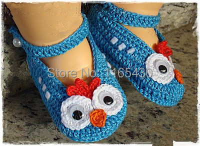 100% Pure Handmade New design Cute Blue Bird Pattern Baby Adorable crocheted baby shoes Infant First Walkers shoes(China (Mainland))