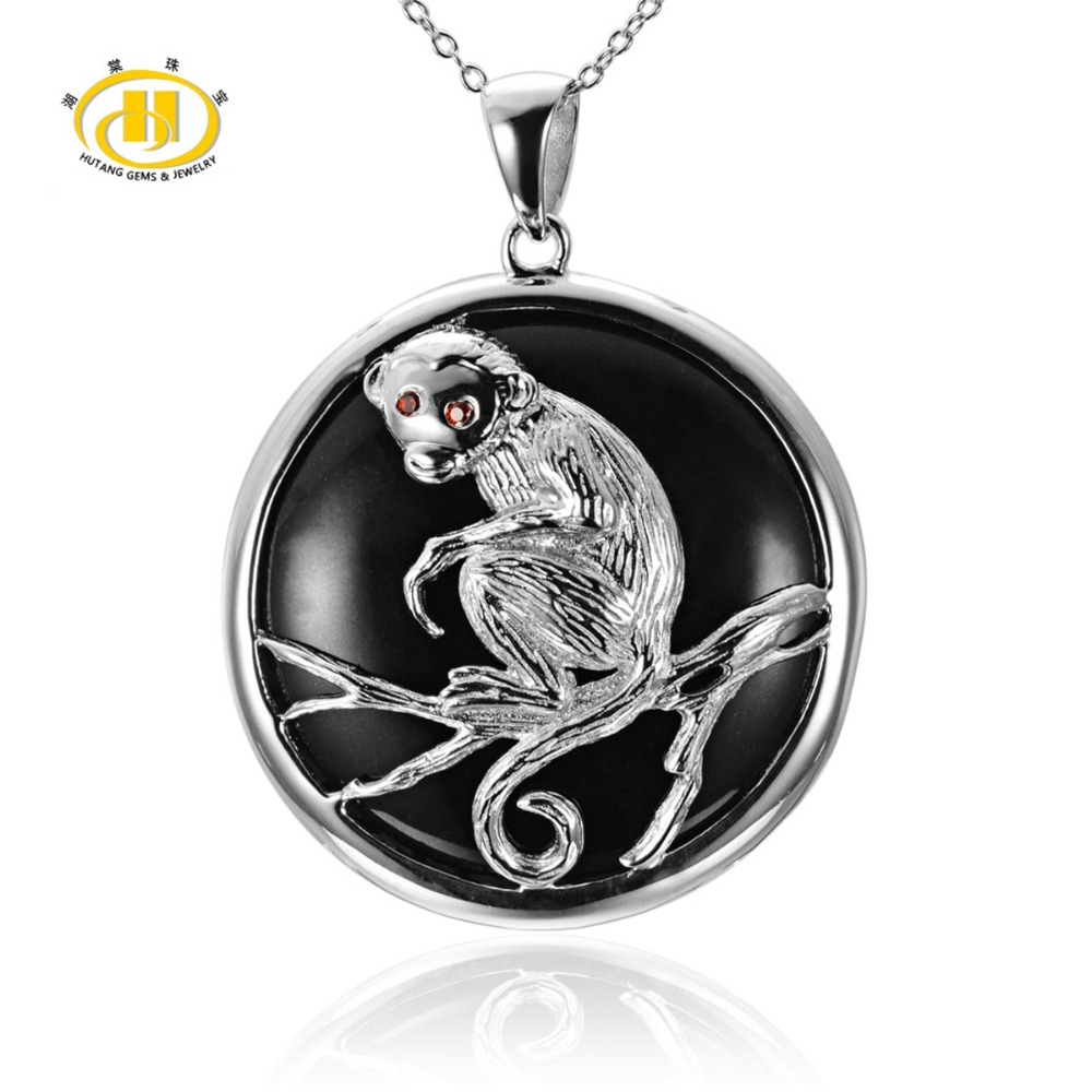 Black Jade &amp; Chinese Zodiac Monkey Solid 925 Sterling Silver Pendant Necklace For Christmas Gift 18<br>