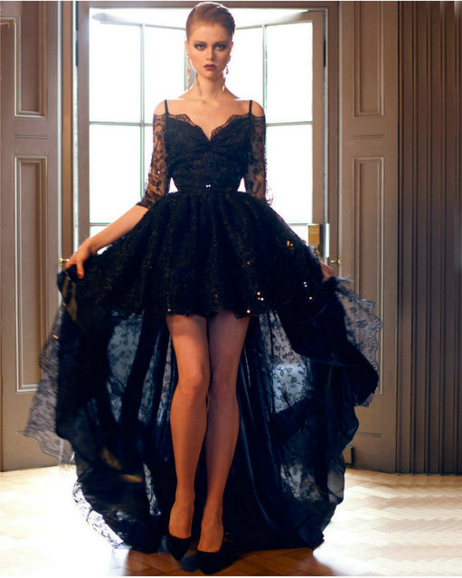 Aliexpress com buy elegant black lace high low prom dress 2016 sexy