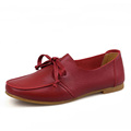 Women s Fashion Genuine Cow Leather Flats Lace Up Casual Leisure Shoes Summer Breathable Round Toe
