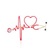 Blucome Dello Smalto Del Cuore di Amore Stetoscopio Spille Per Le Donne Degli Uomini di Cristallo Battito Cardiaco Forma Medico Infermiere Medico Dei Monili Spilla Distintivo(China)