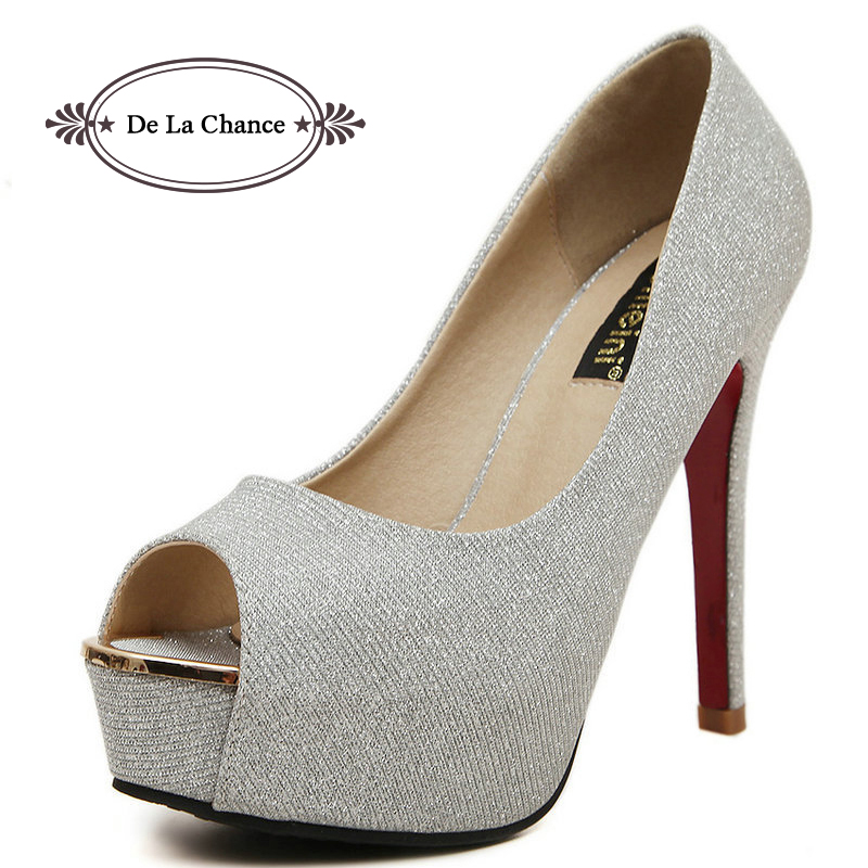 2015 Sexy High Heels Platform Shoes Woman Rhinestone Wedding Shoes Women Pumps Peep Toe Stiletto Heels Ladies Shoes