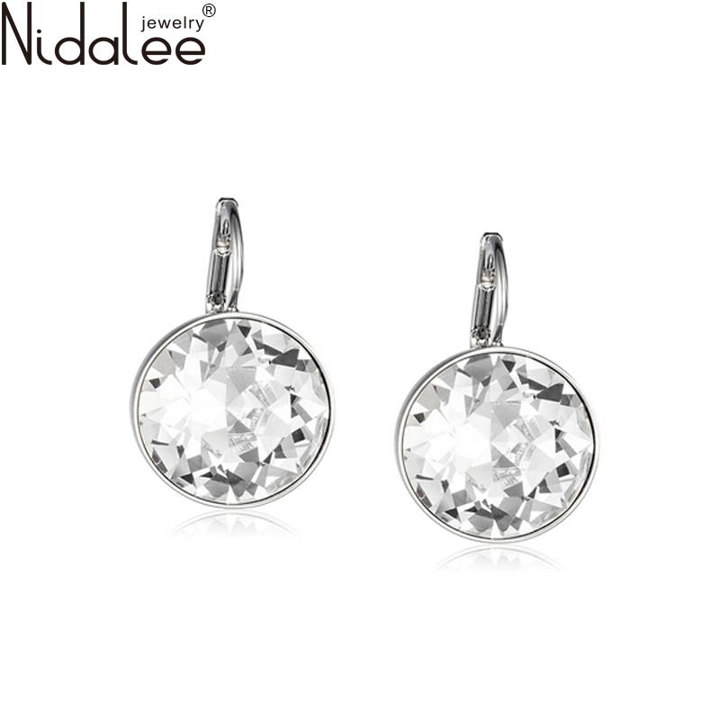 Hot Bella White Crystal Clip On Earrings For Women Stud Earrings Real Crystal From SWAROVSKI Element Fashion Jewelry Accessories(China (Mainland))