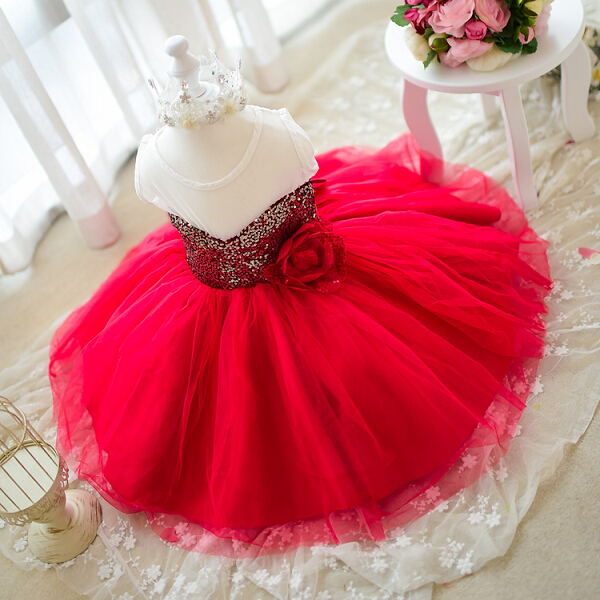 2015 Summer Style Baby Girl Princess Birthday Party Dress Sleeveless Children Infant Clothing Ball Gown Kids Dresses for Girls(China (Mainland))