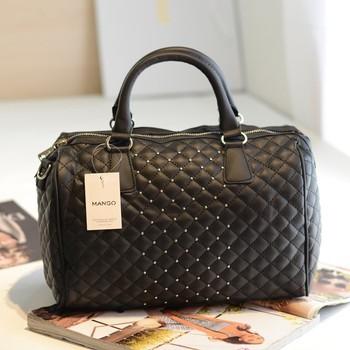 Mango mng new 2014 arrival fashion designers vintage Women leather handbags small rivet bucket bowling bag Women's messenger bag