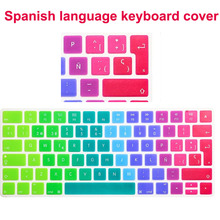"Spain/Spanish Colorful Silicone Keyboard Cover Skin Protector for Mac Macbook Air Pro / Retina 13"" 15"" 17""(China (Mainland))"