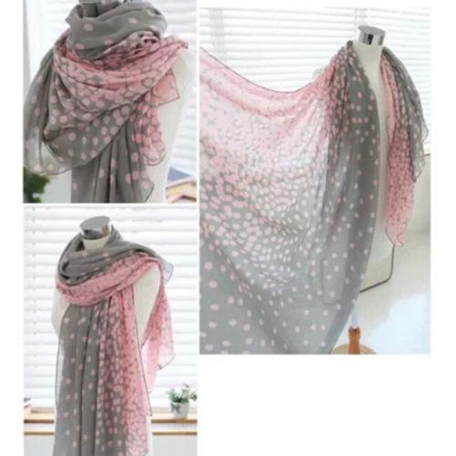 1 горячих женщин леди зима осень теплая мягкая розовый серый точки вуаль шею большой шарфа шаль украл Scarve пашмины рождественский подарок