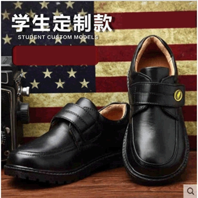 2015 New Genuine Leather Black Unisex All Seasons Children Shoes Boys Girls School Shoes Stage Show Shoes(China (Mainland))